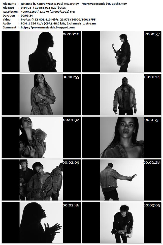 Rihanna ft. Kanye West & Paul McCartney – FourFiveSeconds (4K)